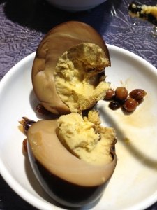 Century egg - the inside story. It looks like it has not been fermented for as long as it should be,
