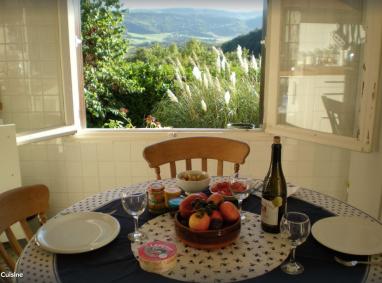 Through the kitchen window at Villa Amande